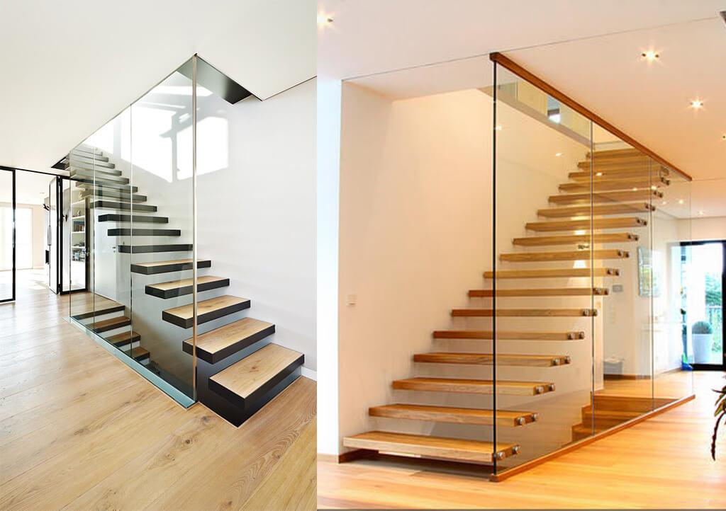 fijo de cristal de seguridad para escalera de suelo a techo
